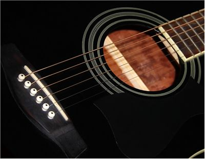 Black Acoustic Guitar's Strings