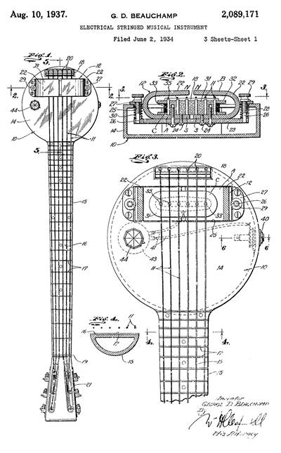 Diagrams of Rickenbacker Lap-steel Guitar Design From 1934