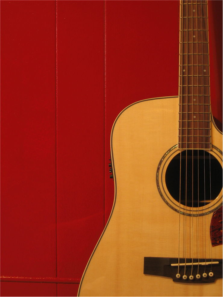 Guitar and Red Wall