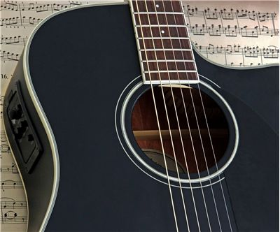 Satin Black Acoustic Electric Guitar
